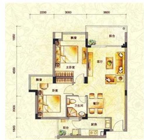 万科城 户型图 2室2厅1卫1厨78㎡-万科城户型图 龙岗区